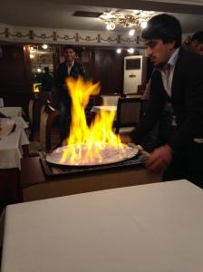 Pescado en llamas
